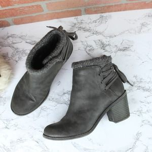 Roxy Gray Booties Lace-Up 7